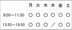 受付時間の表の画像