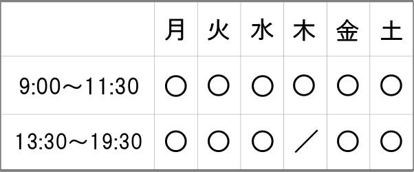 受付時間の表